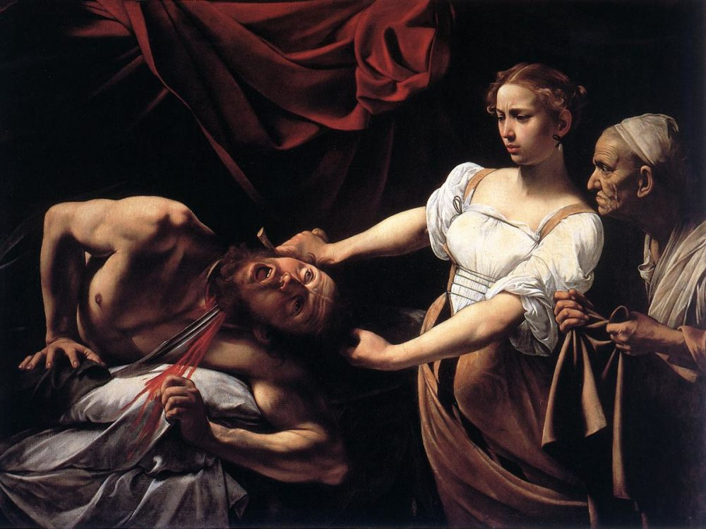 CARAVAGGIO (b. 1573, Caravaggio, d. 1610, Porto Ercole)  Judith Beheading Holofernes c. 1598 Oil on canvas, 145 x 195 cm Galleria Nazionale d'Arte Antica, Rome  A whole book in the Bible is devoted to Judith, because as a woman she embodies the power of the people of Israel to defeat the enemy, though superior in numbers, by means of cunning and courage. She seeks out Holofernes in his tent, makes him drunk, then beheads him. The sight of their commander's bloodstained head on the battlements of Bethulia puts the enemy to flight.  In the painting, Judith comes in with her maid - surprisingly and menacingly - from the right, against the direction of reading the picture. The general is lying naked on a white sheet. Paradoxically, his bed is distinguished by a magnificent red curtain, whose colour crowns the act of murder as well as the heroine's triumph.  The first instance in which Caravaggio would chose such a highly dramatic subject, the Judith is an expression of an allegorical-moral contest in which Virtue overcomes Evil. In contrast to the elegant and distant beauty of the vexed Judith, the ferocity of the scene is concentrated in the inhuman scream and the body spasm of the giant Holofernes. Caravaggio has managed to render, with exceptional efficacy, the most dreaded moment in a man's life: the passage from life to death. The upturned eyes of Holofernes indicate that he is not alive any more, yet signs of life still persist in the screaming mouth, the contracting body and the hand that still grips at the bed. The original bare breasts of Judith, which suggest that she has just left the bed, were later covered by the semi-transparent blouse.  The roughness of the details and the realistic precision with which the horrific decapitation is rendered (correct down to the tiniest details of anatomy and physiology) has led to the hypothesis that the painting was inspired by two highly publicized contemporary Roman executions; that of Giordano Bruno and above all of Beatrice Cenci in 1599.         --- Keywords: --------------  Author: CARAVAGGIO Title: Judith Beheading Holofernes Time-line: 1551-1600 School: Italian Form: painting Type: religious