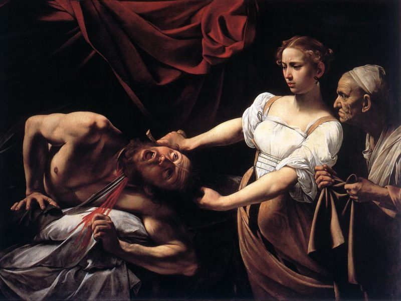 CARAVAGGIO (b. 1573, Caravaggio, d. 1610, Porto Ercole)  Judith Beheading Holofernes c. 1598 Oil on canvas, 145 x 195 cm Galleria Nazionale d'Arte Antica, Rome  A whole book in the Bible is devoted to Judith, because as a woman she embodies the power of the people of Israel to defeat the enemy, though superior in numbers, by means of cunning and courage. She seeks out Holofernes in his tent, makes him drunk, then beheads him. The sight of their commander's bloodstained head on the battlements of Bethulia puts the enemy to flight.  In the painting, Judith comes in with her maid - surprisingly and menacingly - from the right, against the direction of reading the picture. The general is lying naked on a white sheet. Paradoxically, his bed is distinguished by a magnificent red curtain, whose colour crowns the act of murder as well as the heroine's triumph.  The first instance in which Caravaggio would chose such a highly dramatic subject, the Judith is an expression of an allegorical-moral contest in which Virtue overcomes Evil. In contrast to the elegant and distant beauty of the vexed Judith, the ferocity of the scene is concentrated in the inhuman scream and the body spasm of the giant Holofernes. Caravaggio has managed to render, with exceptional efficacy, the most dreaded moment in a man's life: the passage from life to death. The upturned eyes of Holofernes indicate that he is not alive any more, yet signs of life still persist in the screaming mouth, the contracting body and the hand that still grips at the bed. The original bare breasts of Judith, which suggest that she has just left the bed, were later covered by the semi-transparent blouse.  The roughness of the details and the realistic precision with which the horrific decapitation is rendered (correct down to the tiniest details of anatomy and physiology) has led to the hypothesis that the painting was inspired by two highly publicized contemporary Roman executions; that of Giordano Bruno and above all of B